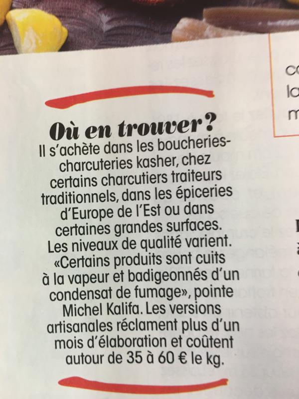 © Michel Kalifa, Pastrami, le boeuf à la mode, magazine Cuisine et Vin, 2017