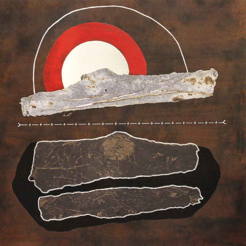 Michel Rossigneux - Au-delà n°12. - 100 x 100cm.- Huile et techniques mixtes sur bois.