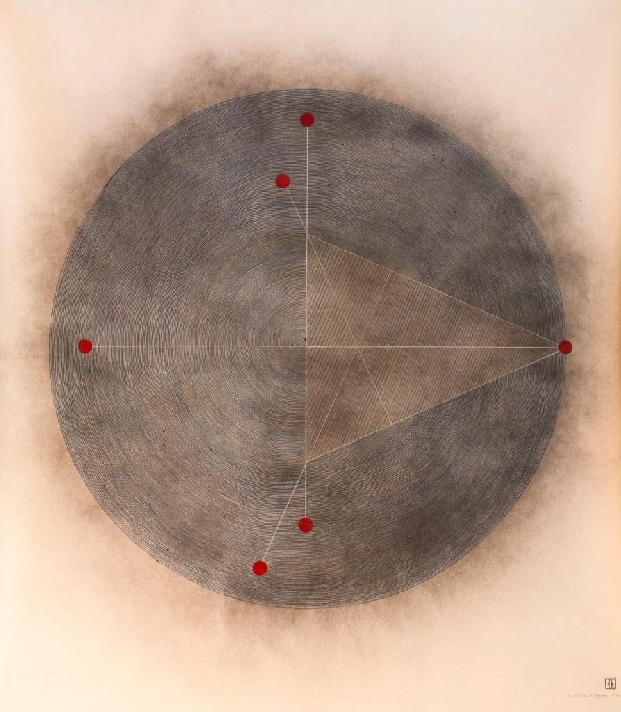 Michel Rossigneux - Lune n°2 - acrylique et crayons de couleur sur toile. 1,10 x 1,10 m.
