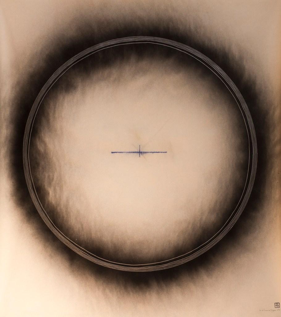 """Michel Rossigneux - """"Lune de Douzens"""" n°4 - acrylique et crayons de couleur sur toile. 1,10 x 1,10 m."""