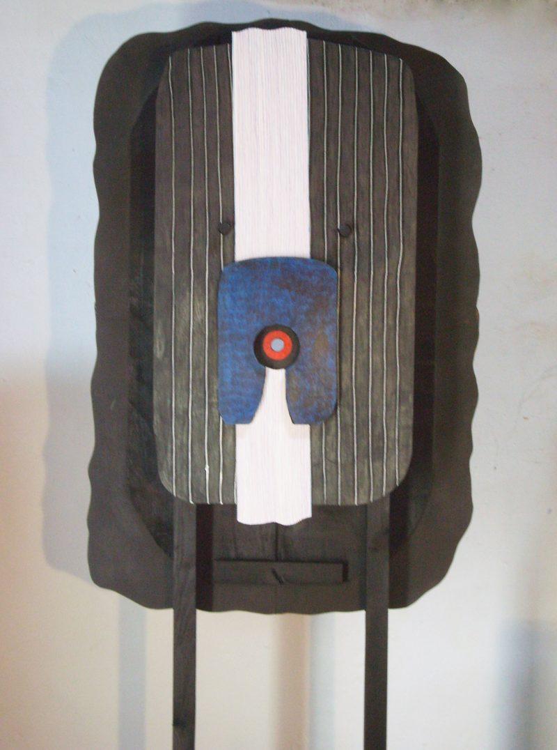 Michel Rossigneux - Traverse n°1 verso - Bois, carton, crayons de couleur