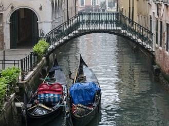 Gondolas in Venice wintertime