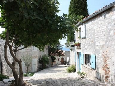 Rovinj cobblestone streets and old stone houses
