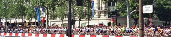 Tour de France riders on the Champs Elysees