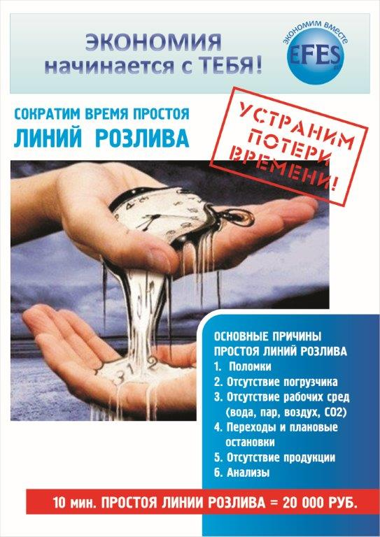 Saving starts with you! Stop wasting time! Stopping a bottling line for 10 minutes costs 20,000 rubles.