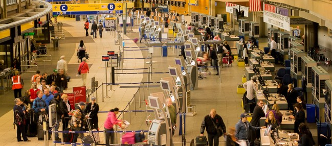 One line for multiple check-in counters