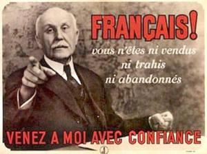 Une propagande de l'époque représentant le Maréchal Philippe Pétain faisant appel à la confiance des citoyens français.