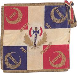 Le drapeau de la France de Vichy avec la franquiste comme symbole au centre.