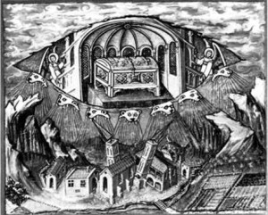 La Nouvelle Jérusalem Céleste telle que vue dans l'Antiquité: elle sauve l'humanité en emportant l'Arche d'alliance en elle.Le temps s'écoule différemment en Elle!
