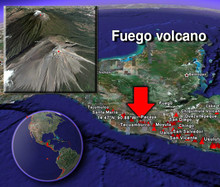 Localisation du volcan Fuego au Guatemala