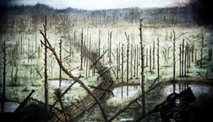 La sombre et sinistre forêt de Miasnoï Bor ,en Russie.