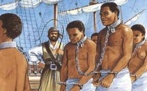 Dessin représentant des esclaves noirs...maltraités.