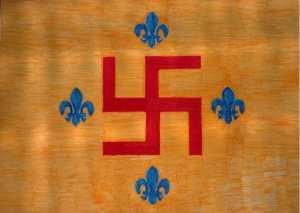 Premier véritable drapeau nazi érigé par Jörg Lanz von Liebefels ,en Allemagne.Notez les fleur de lys ,symbole nationaliste très européen et nordique que l'on retrouve aussi sur le drapeau du Québec.