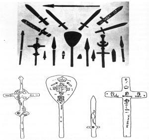 """Ces artefacts romains ont été découverts près de Tucson, Arizona, en 1924. Mais, comme il est """"bien connu"""" que l'Amérique a été """"découverte"""" par Christophe Colomb en 1492, ces artefacts pourtant déterrés par des archéologues professionnels, sont évidemment très controversés.  Ils sont datés entre 560 et 900.  Sur l'une des épées a été gravé un dinosaure."""