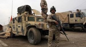 Checkpoint à l'est de Bagdad,en Irak.