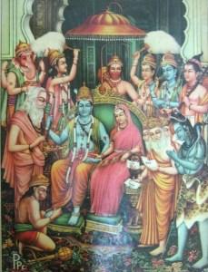 Couronnement de Rama :notez les corps peints en bleu.