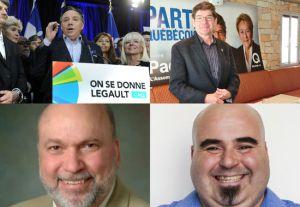 Les candidats  à l'élection dans L'Assomption:François Legault (coin gauche en haut),Pierre Paquette (Parti québécois,en  haut à droite),Marc Bergevin (Parti libéral corrompu du Québec à gauche en bas) et Sylvain Fournier (QS  à droite en bas).En commun,ils ont tous un beau sourire et ils mentent comme ils respirent.