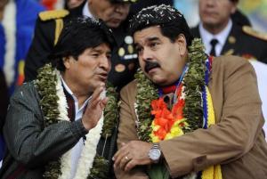Evo Morales ,président de la république de Bolivie ,et Nicolas Maduro,président du Vénézuela