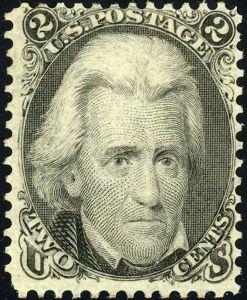 Timbre de 1862  à l'effigie du président Andrew Jackson.