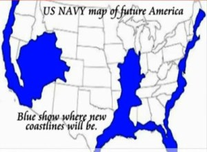 La carte  d'inondation  des terres ...selon HAARP et la Marine Américaine./ Map of flooding ... depending on HAARP and the United States Navy