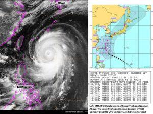 """Alors que le super typhon est sur le point de devenir un cyclone de catégorie 5/5, le Japon est déjà en alerte maximale.  Un responsable de l'agence de météo a prévenu que Neoguri, pourrait atteindre une violence quasi inédite. """"Soyez prêts à l'évacuation"""".  Sur Okinawa, il s'agira du plus violent typhon annoncé sur l'île en 15 ans."""