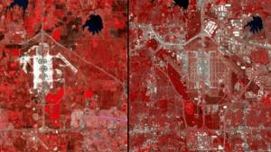 L'aéroport de Dallas est l'une des principales plaques tournantes pour les avions aux États-Unis. Photo d'un enregistrement par satellite à partir de 1974, peu de temps après l'ouverture de la Foire. L'image de droite montre l'aéroport en 2013: de nouvelles pistes, voies de circulation beaucoup plus pour les machines. L'aéroport est à 78 kilomètres carrés