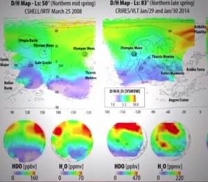 Cartes montrant la répartition des H20 et HDO (eau lourde) à travers la planète fait avec le trio de télescopes infrarouges. Crédit: NASA / GSFC
