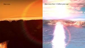 Mars à l'heure actuelle a peu ou pas d'eau liquide à sa surface froide, comme un désert. Il y a bien longtemps, le Soleil a presque certainement vu son reflet dans les lacs de vagues ondulées et une mer du Nord. Crédit: NASA / GSFC