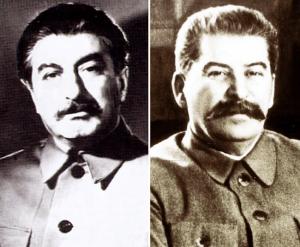 Joseph Staline,le dictateur communiste de l'Union Soviétique et son double,Felix Dadaev.