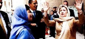 Hillary Clinton recouverte d'un tchador.