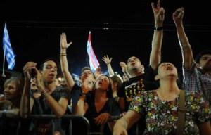 Le peuple grec  criant sa victoire!