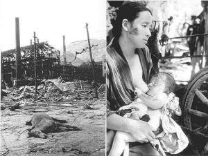 J'ai de nombreuses photos inédites de l'événement,mais elles sont très dures à regarder.Elles frappent l'imagination!Je vais donc me limiter ici par quelques photos représentatives de l'horreur d'Hiroshima. À mon avis,ces deux photos illustrent la situation à merveille:à gauche la destruction totale de l'environnement de la ville;à droite,une femme qui allaite son enfant irradié qui s'accroche à la vie!