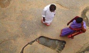 L'empreinte du géant de Lepakshi,en Inde.