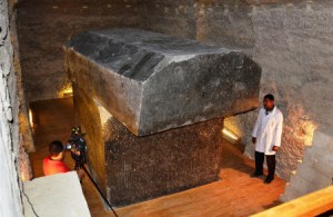 CAIRO, Egypt - The Serapeum, an ancient stone tomb of an Apis bull, is unveiled in Saqqara, Egypt, on Sept. 20, 2012. (Kyodo)