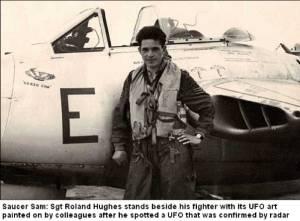 Roland hugues ,pilote de l'US Air Force ,fit dessiner l'ovni qu'il prit en chasse au-dessus de Washington,en juillet 1952.
