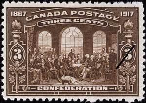 Timbre souvenir de 1917 commémorant les Discussions sur  la naissance du Canada.