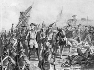 Dessin original représentant la bataille des Plaines d'Abraham.