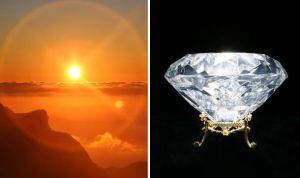 À gauche:dessin d'artiste illustrant ce qu'on pourrait voir de ce diamant de l'espace...en approche.
