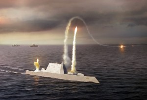 080723-N-0000X-001 An artist rendering of the Zumwalt class destroyer DDG 1000, a new class of multi-mission U.S. Navy surface combatant ship designed to operate as part of a joint maritime fleet, assisting Marine strike forces ashore as well as performing littoral, air and sub-surface warfare. (U.S. Navy photo illustration/Released)