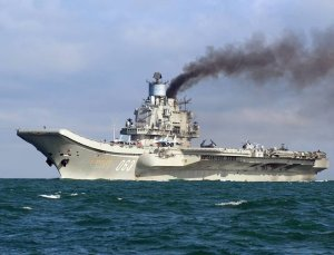 Russian aircraft carrier Admiral Kuznetsov in the English Channel, 21 October 2016. The Russian Task Group, which includes the sole Russian aircraft carrier, Admiral Kuznetsov, the nuclear powered Kirov Class Battlecruiser, Pyotr Velikiy and two Udaloy Class Destroyers, Vice Admiral Kulakov and Severomorsk sailed from Russia on Saturday 15 October to join the Russian anti-Daesh military operations in Syria.