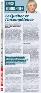 Le Québec et l'incompétence Le Journal de Montréal - 26 nov. 2016 - Page #12