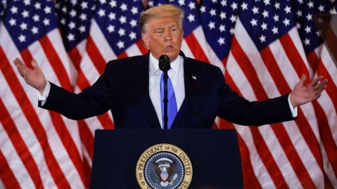 Le président des États-Unis et candidat républicain, Donald Trump, a prononcé un discours aux petites heures du matin, mercredi.