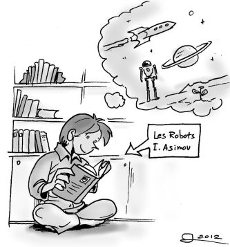 """Michèle bitten by the science fiction bug, reading Asimov's collection, """"I Robot"""" (translated in French)"""