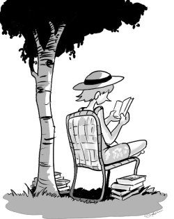 Michele reading under a tree