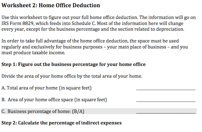 Home Office Deduction Worksheet Michele Cagan Cpa