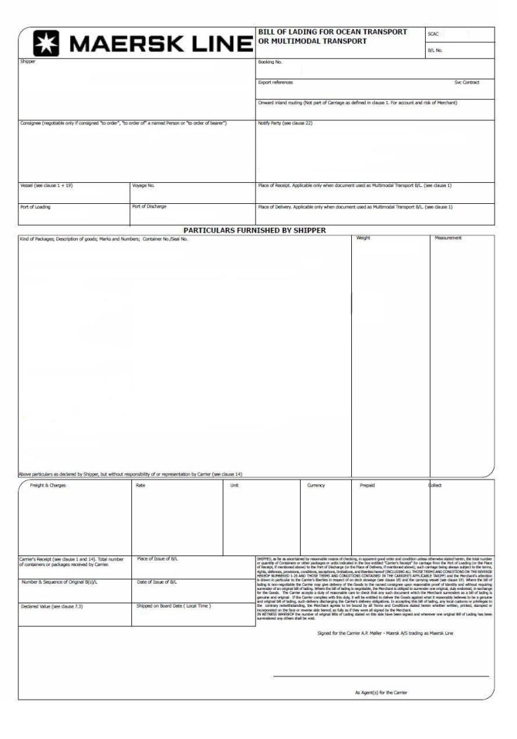 Bill of Lading draft