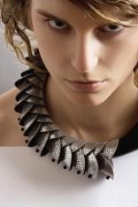 Snake cuir argent et corne