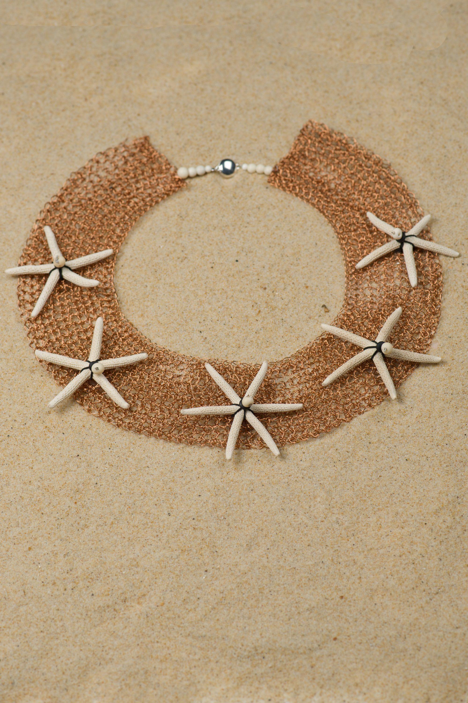 parure-étoiles-mer-métal-crocheté-michèle -forest-design-pièce-unique