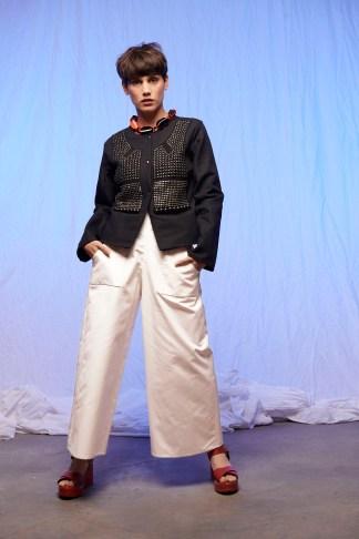 veste femme lin brodée de métal