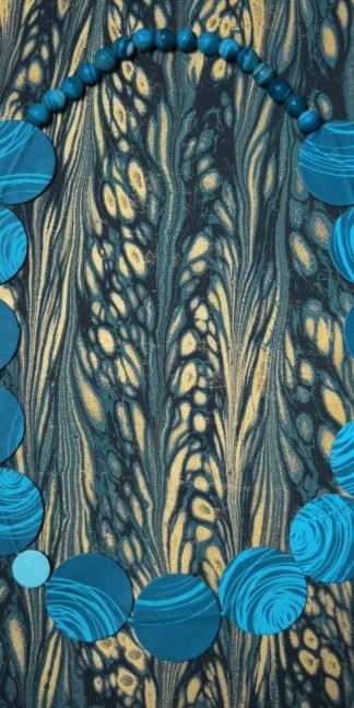 collier cuir bleu imprimé en sérigraphie